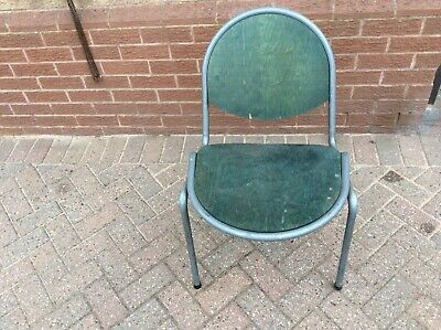 1970's Rare shape Retro Plywood and Metal Stacking Chairs School / Lab / Cafe
