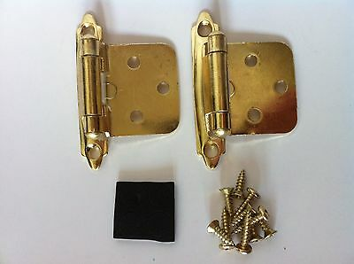 Polish Brass Self Closing Flush Mount Cabinet Furniture HInges retial pack
