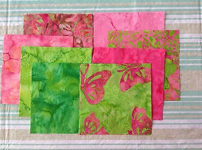 5 inch Fabric Squares Hoffman Fabrics Bright Hot Pink Lime Green 100% Cotton Hot Pink Lime Green