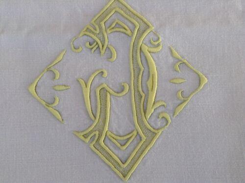"""Antique Vintage French Linen Sheet Yellow RARE Art Nouveau Monogram  """"J"""""""