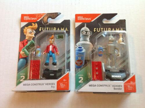 Two Futurama Mega Construx Heros Series 2 Figures Fry & Bender TV Show Toy CHEAP