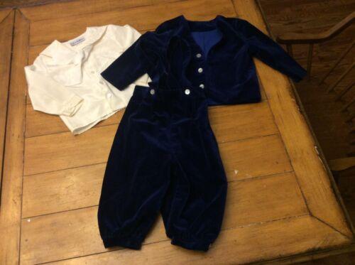 3pc Vintage Toddler Boys Blue Velvet Suit Set Blazer Jacket Romper Jon Jon 3 / 4