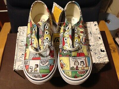 NEW Vans Peanuts Comics collage Authentic Shoes Toddler 9.5