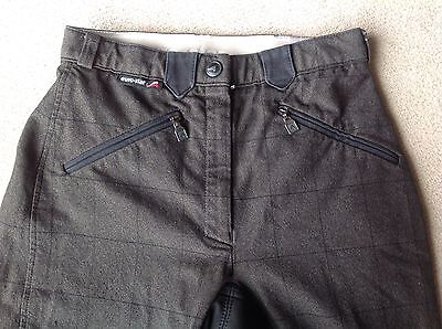 LADIES EURO-STAR  FULL SEAT BREECHES, SIZE: 26 LONG , MED. GRAY WITH BLACK SEAT