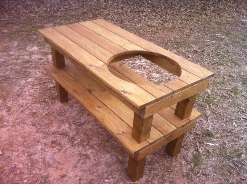 Big Green Egg Stained Pressure Treated Pine Table