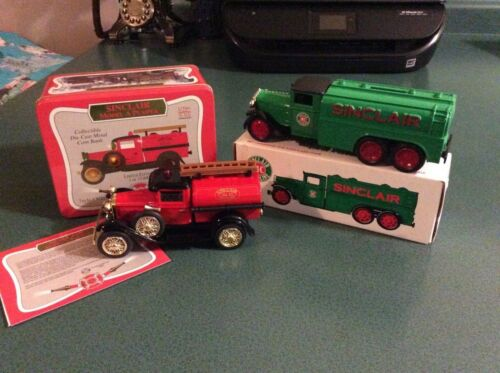 Two (2) SINCLAIR ERTL Die Cast Banks Tanker and Fire truck Original boxes. NICE!