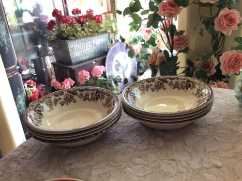 "Spode Delamere Brown Soup Salad Bowls 8"" In Diameter Made In England Set Of 8"