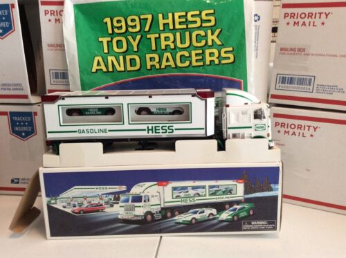 1997 Hess Toy Truck and Racers New in box And Original Bag.