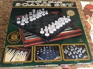 3 Wood and Glass Game Set : Limited Edition
