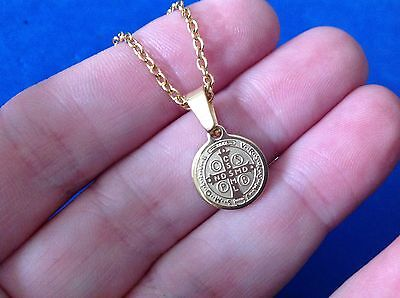 St BENEDICT NECKLACE Pendant Protection Saint Medal Gold Plated Stainless Steel  Gold Medal Necklace