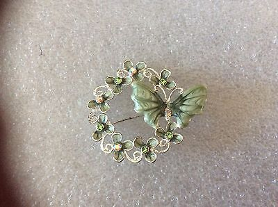 Vintage Green Enamel & Rhinestone Floral Wreath with Butterfly  Pin