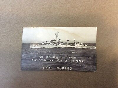 WWII Navy USN USS Picking DD-685 Photo Ship Fletcher Class Destroyer Sailors