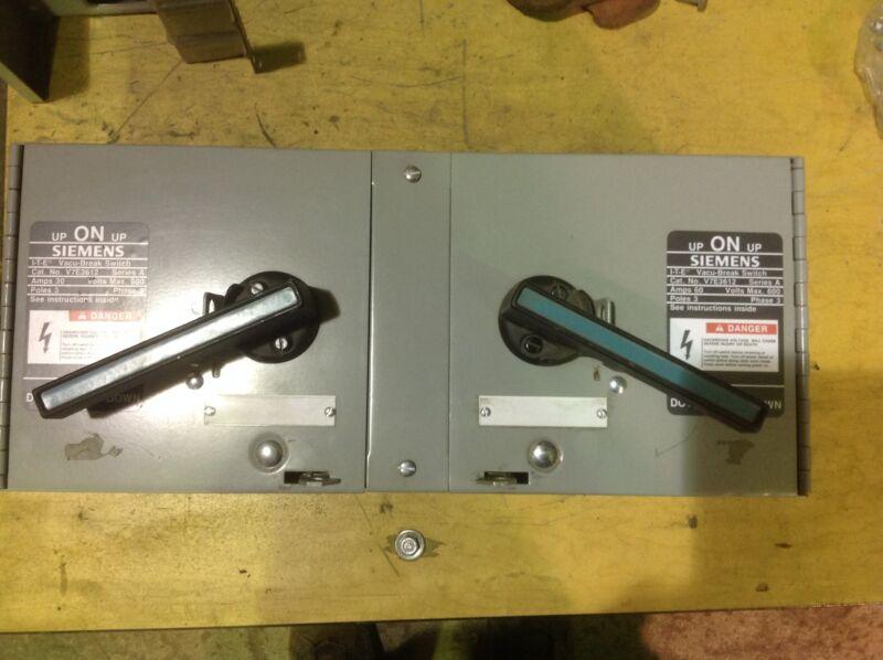 Siemens V7e3612 60 Amp/ 30 Amp 600 Volt 3 Pole Twin Fusible Panelboard Switch