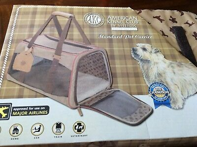 AKC Large Dog Pet Carrier Travel American Kennel Club Portable Crate Tan sherpa