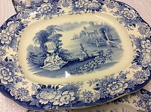 Antique Ironstone China THREE Lovely Meat Plates Serving Platters Blue & White