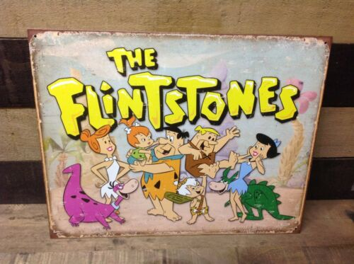 The Flintstones Family Fred Retro Metal Sign Tin Vintage Garage Hanna Barbera