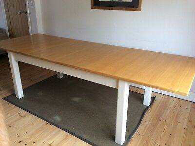 Very Large Extending Solid Wood Dining Table Seats 8-10-12