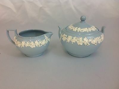 Wedgwood Queensware Creamer and Sugar Bowl White on Lavender Blue Smooth Edge