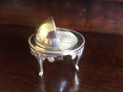 VINTAGE SILVER PLATED REVOLVING TOP CAVIAR / BUTTER DISH