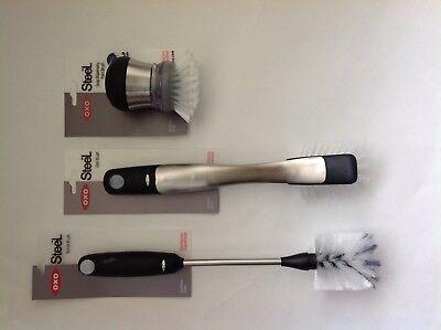 New OXO Good Grips Steel Soap Dispensing Palm, Dish Brush, & Bottle Brush Oxo Steel Soap