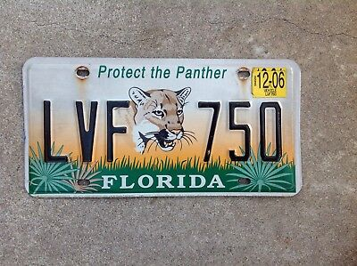 "FLORIDA - ""PROTECT THE PANTHER"" - LICENSE PLATE"