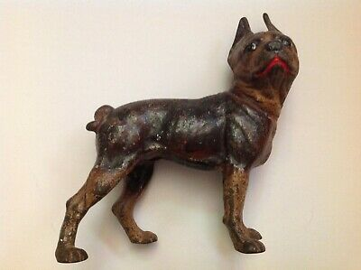 1920s Antique Hubley Red Mouth Boston Terrier Cast Iron Door Stop (8 pounds)