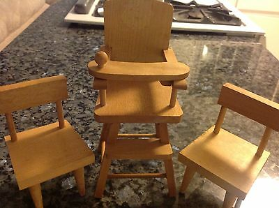 Vintage Cape Cod Toymakers Wooden Doll Furniture High Chair. 2 chairs.