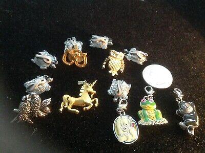 Animal Pin Charm and Pendant Lot Unicorn Owl Frog Turtle Monkey Bird Elephant  Elephant Animal Charm Pendant