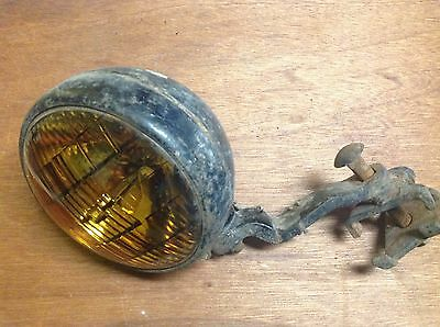LQQK! Vintage amber FOG LAMP LIGHT auto truck CAR anTiQUe mounting BRACKET