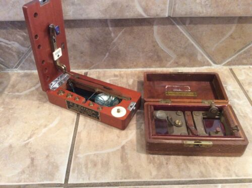 Antique Balance Beam Gold Miners Scale  Box Weights+ Inspection magnifying Glass
