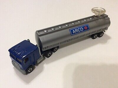 Vintage Hot Wheels Arco Tanker Steering Rig Blue Near Mint Complete