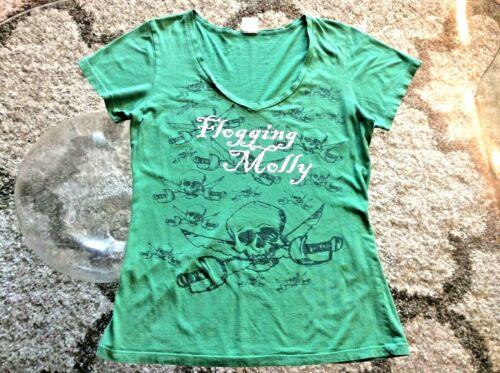 Flogging Molly Skull Cross Swords Green Round-Neck Shirt Ladies Slim-Fit XL