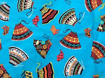 SKIRTS AND BOOTS country cowboy Mexican on blue COTTON FABRIC, 44