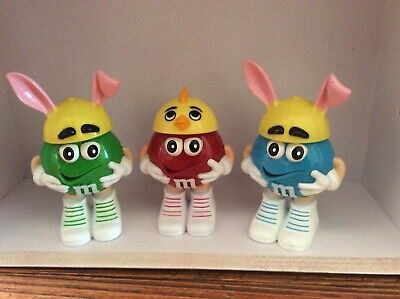 M&M Candy Dispensers Easter Figures Green Bunny & Red Chick & Blue Bunny for sale  Bel Air