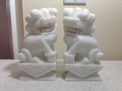 Pair Vintage White Color Hand Carved Stone Foo Dogs Marble Crude Cut Asian China