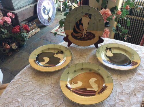"Sakura Cat Collection - Warren Kimble - Set of 4 - 8-1/8"" Stoneware Plates"