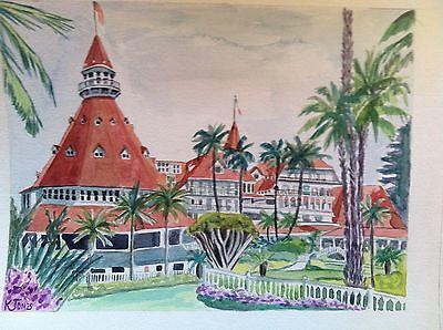 Sale Hotel Del Coronado Watercolor Painting San Diego California Art Victorian