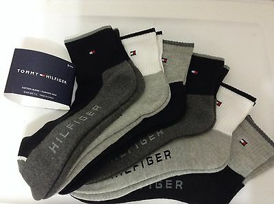 Tommy Hilfiger 6-Pair Men's Athletic Quarter Crew Socks Black / Gray  (9302)