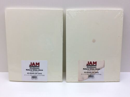2 - JAM PAPER Extra Heavy Weight 130lb Cardstock 8.5x11 Coverstock Natural White