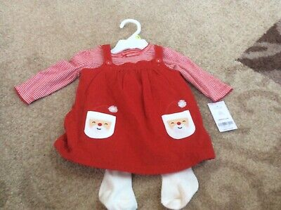 Carters Baby Girl Christmas 3pc Santa. Jumper Dress 9 Months New With Tags