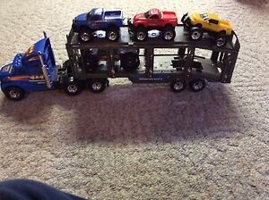 Transport Truck, Trailer and Cars