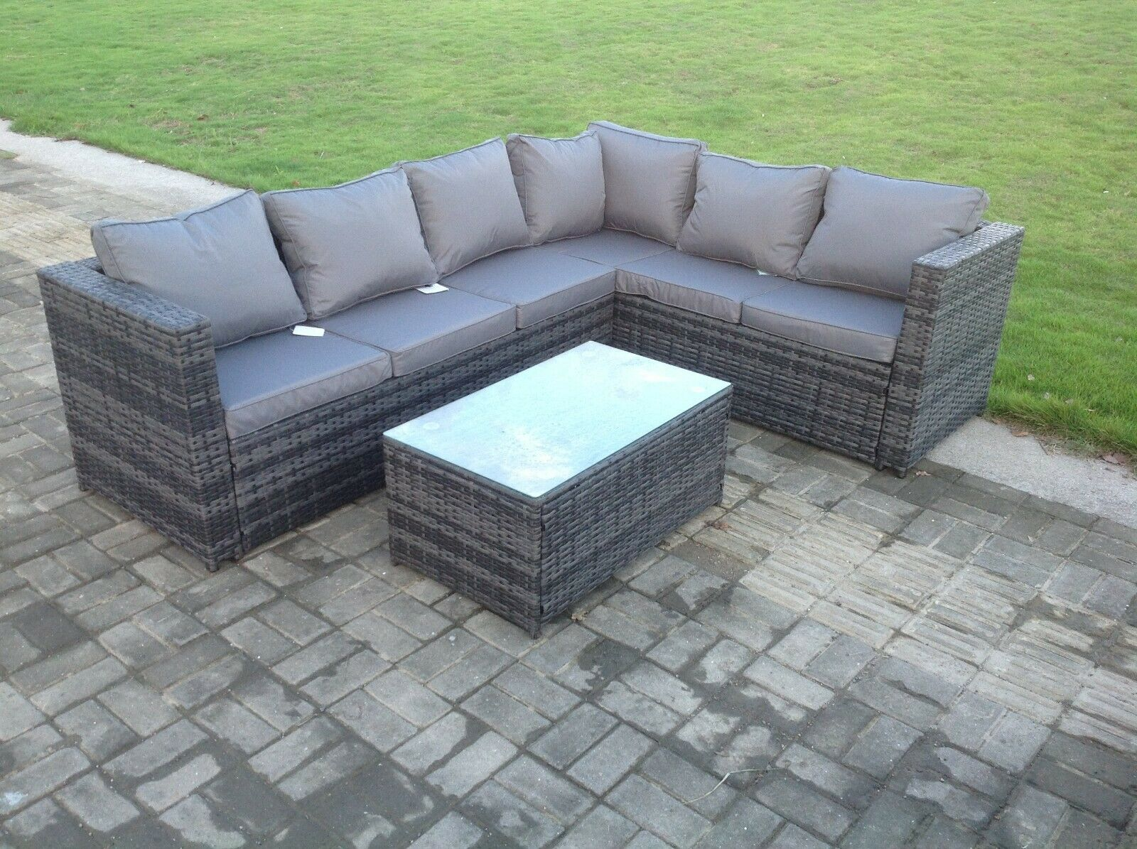 Garden Furniture - 6 seater wicker rattan corner sofa set table outdoor garden furniture patio grey
