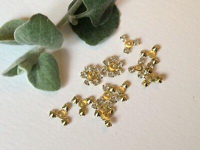 (Vintage Rhinestone half flower findings 11mm Crystal Craft Pack 10 Post Free)
