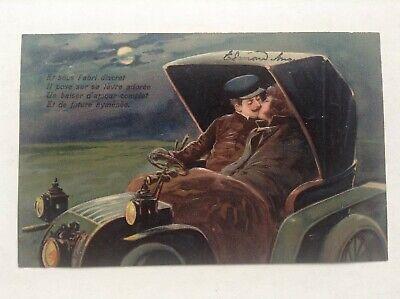 Ancienne Carte postale fantaisie gaufrée couple en voiture série 5999