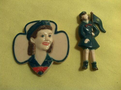 (2) Vintage Plastic Girl Scout Pins