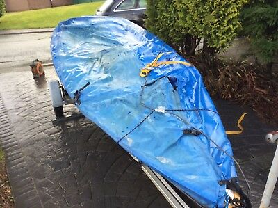 Used Streaker sailing dinghy boat cover.  Solo Laser ??  Mast up