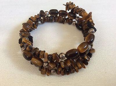 Genuine tiger eye nugget barrel beads Memory Wire bangle -