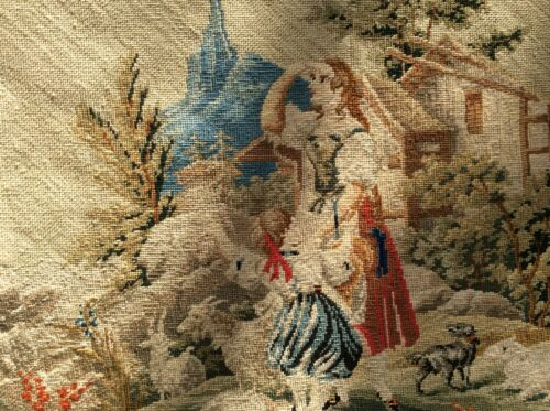 Antique Needlepoint Embroidery Tapestry Sewing Needlework Textiles