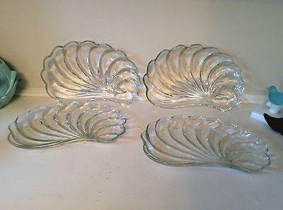 Vintage Hazel Atlas clear glass snack trays seashell pattern swirl, 3 plus - Free Glass Deco Patterns