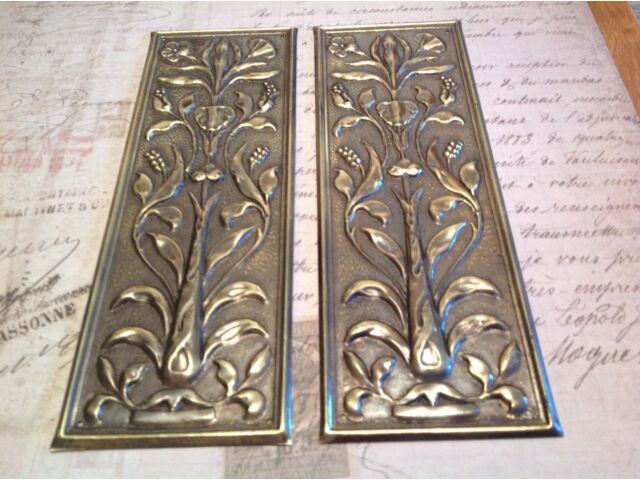 Reclaimed Solid Brass Door Finger Plates Antique finish